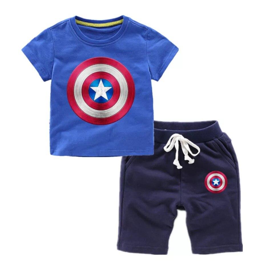 Комплекты одежды для мальчиков Marvel Avenger Captain America, Детская футболка + штаны, детские костюмы, спортивные костюмы для мальчиков