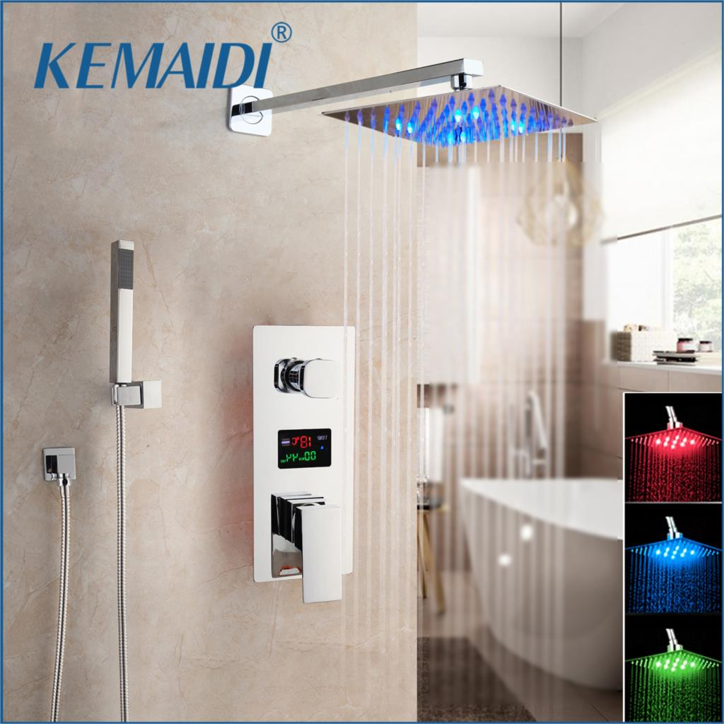 KEMAIDI Chrome Finished LED Shower Head Digital Display Mixer Taps Bathroom Shower Faucet 3-Functions Digital Shower Faucets Set
