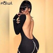 Fqlwl sexy clube manga longa bodycon empilhado macacão feminino uma peça outfit preto branco sem costas macacão das mulheres feminino
