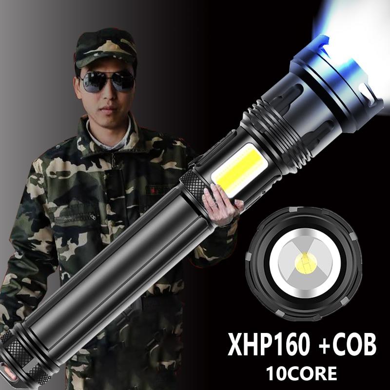 1000000lm xhp160 10 núcleo de longa distância lanterna led 10000mah com lado cob luz usb recarregável zoom tocha flash luz