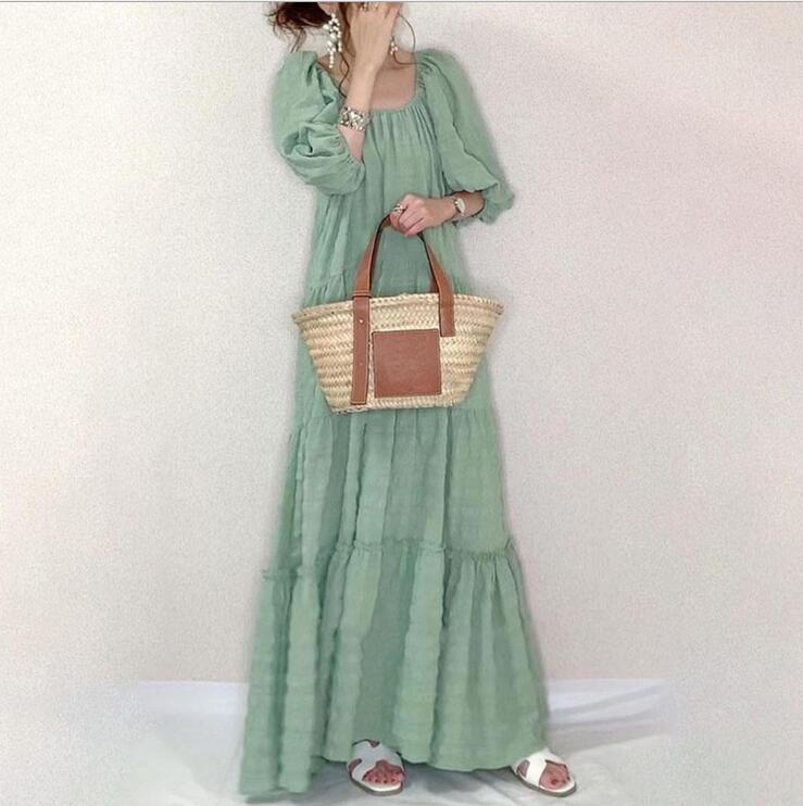 Women Casual Long Dress Square Collar Loose Solid Half Puff Sleeve Sweet Japanese Style Fashion Dress Daily Travel Vestidos 2021