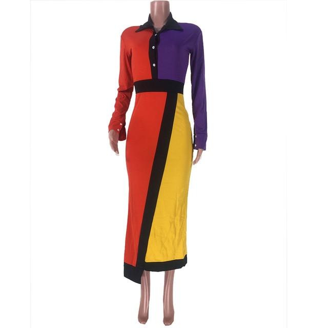 Colors Patchwork Maxi Dresses Women Turn Down Collar Full Sleeve Blouse Dress Fashion Autumn Irregular Elegant Office Lady Dress 5