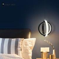 Hause Lichter Moderne Led Anhänger Licht Für Schlafzimmer wohnzimmer esszimmer Nacht Hängen Anhänger Lampe Schwarz & Weiß Lustre leuchte