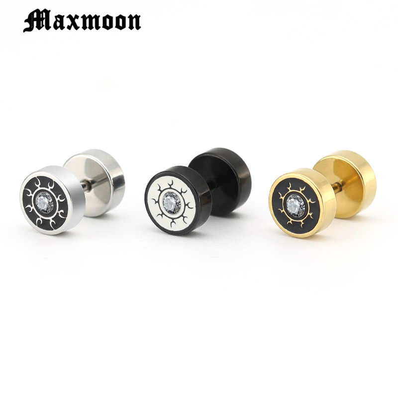 Maxmoon Punk Medical Titanium Black Silver Round Barbell Stud Earrings Women Men's Gothic Jewelry Rock Piercing Earring 1 Pair
