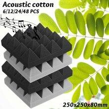 6 sztuk pianka akustyczna węgiel/czarny bas pułapka absorpcja dźwięku Studio dźwiękochłonna ściana narożna 250x250x80mm