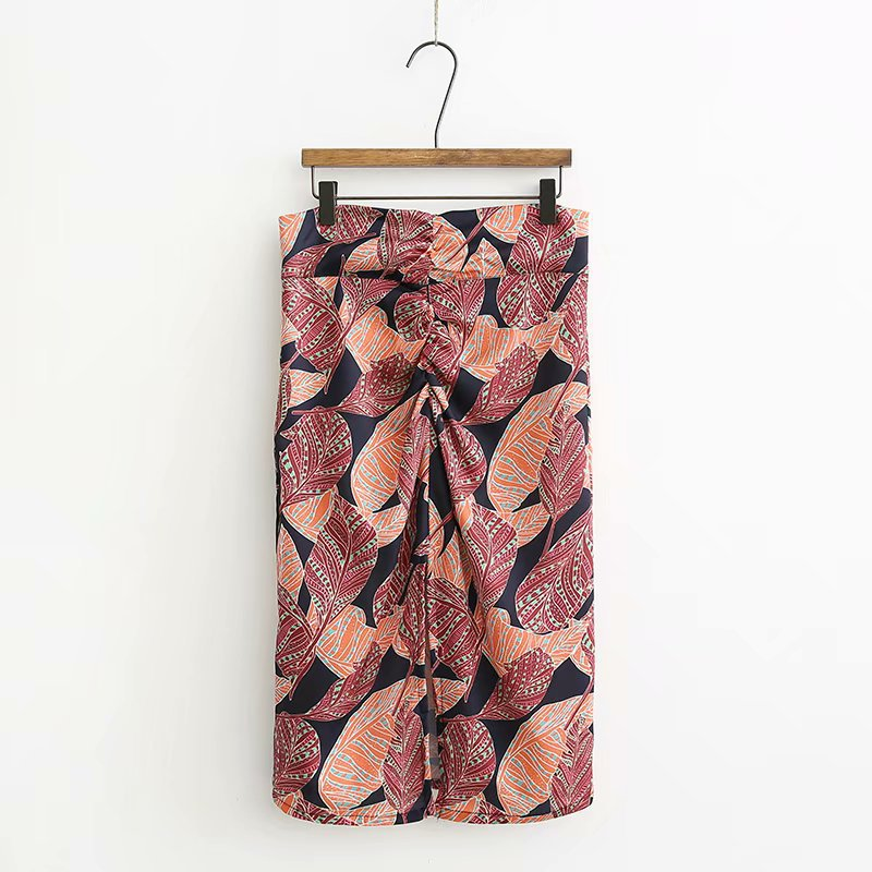 2018 Western Style Fashion WOMEN'S Dress High-waisted Slim Fit Pleated Slit-Front Leaf Printed Skirt Skirt