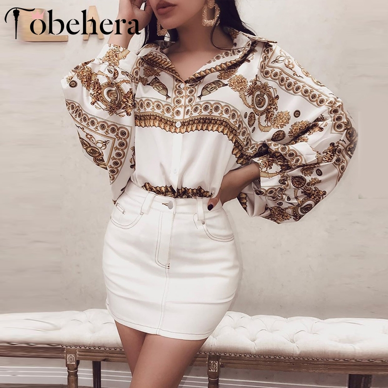 Glamaker Vintage paisley print white blouse shirt Women long lantern sleeve loose autumn blouse Female retro elegant blouse 2019