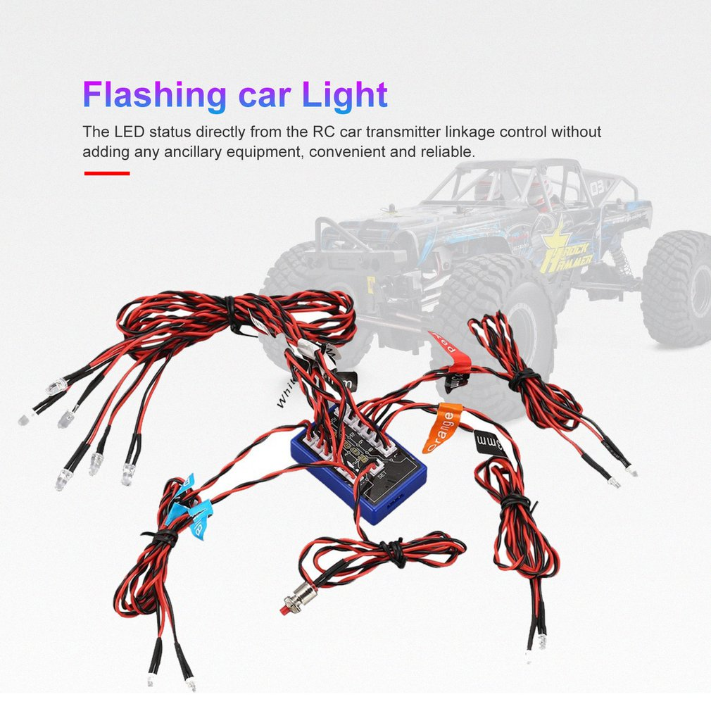 Hot Sale 12 Ultra LED Flashing Light Strobe Lamps Kit System For 1/10 1/8 RC Drift HSP TAMIYA CC01 4WD Axial SCX10 RC Car Truck