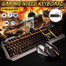 Keyboard Mekanik Kabel Lampu Latar Diterangi Ergonomis USB Gaming Keyboard Optical Mouse Kit Gamer Komputer Laptop Gaming Set(China)