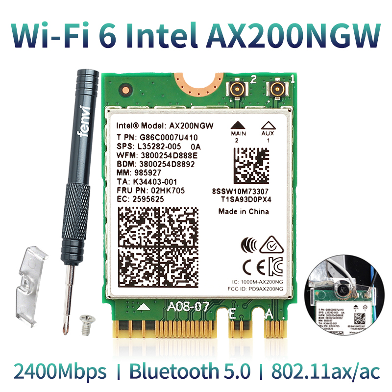 Wireless Dual Band 2400Mbps WiFi 6 For <font><b>Intel</b></font> <font><b>AX200</b></font> NGFF M.<font><b>2</b></font> Bluetooth 5.0 Wifi Network Card AX200NGW <font><b>2</b></font>.4G/5G 802.11ac/ax MU-MIMO image