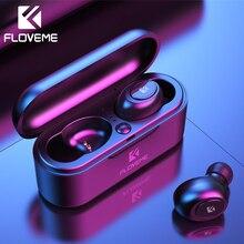 FLOVEME 미니 TWS 무선 헤드폰 블루투스 5.0 이어폰 스포츠 이어폰 헤드셋 3D 스테레오 사운드 이어 버드 마이크로 충전 박스
