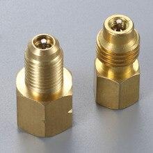 2Pcs R1234yf Hose Adapter 1/2inch ACME LH Left Hand 1/4inch SAE Female FL Brass Valve Core