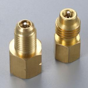 Image 1 - 2Pcs R1234yf Hose Adapter 1/2inch ACME LH Left Hand 1/4inch SAE Female FL Brass Valve Core