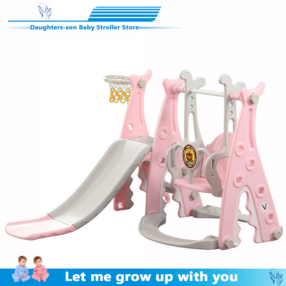 3 in 1 Baby Slides And Swing Chair Basketball Story Home Kids Playground Plastic Slides Set Toy Indoor Family Kindergarten(China)
