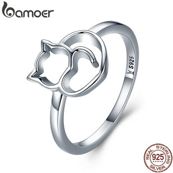 BAMOER Authentic 100% 925 Sterling Silver Naughty Little Cat & Heart Finger Ring for Women Jewelry Gift SCR104 - discount item  46% OFF Fine Jewelry