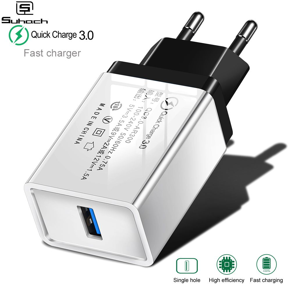 Suhach Quick Charge 3.0 USB Charger QC 3.0 QC Turbo Fast Charging EU Travel Wall Charger For Xiaomi mi 9 Huawei P30 Mobile Phone