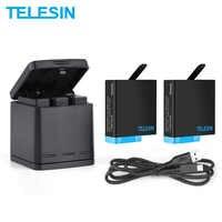 Cargador de batería TELESIN de 3 vías + caja de carga de 2 baterías con batería de repuesto para GoPro Hero 8 7 6 5 Accesorios Negros