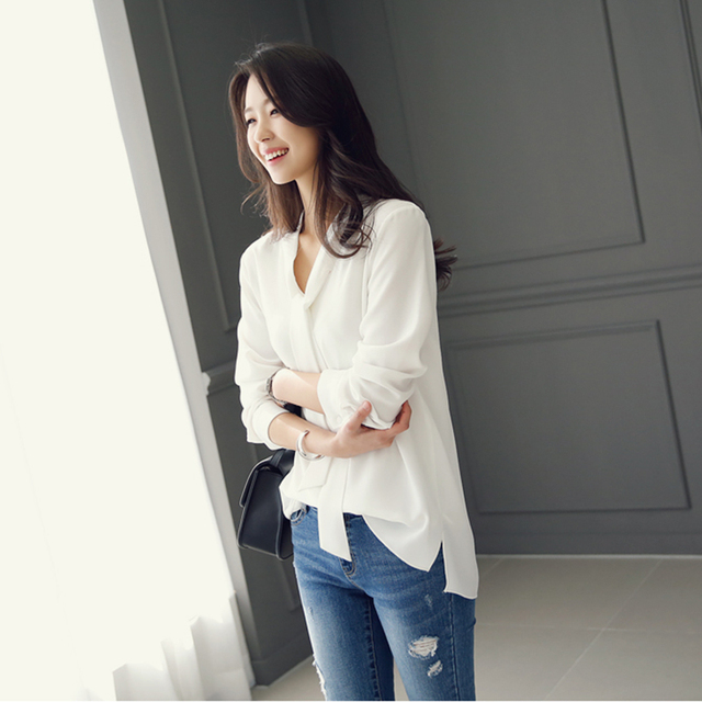 Casual white blue chiffon OL blouse shirt fashion woman blouses 2020 long sleeve blouse women blusa feminina female tops A137 4