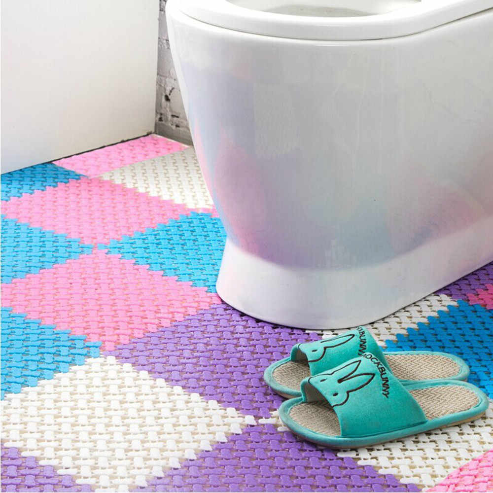 20# 1pc Diy Carpet Candy Colors Plastic Bath Mats Easy Bathroom Massage Carpet Shower Room Non-slip Mat Drop Shipping