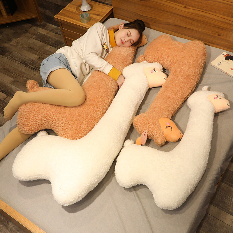 130cm Lovely Alpaca Plush Toy Japanese Alpaca Soft Stuffed Cute Sheep Llama Animal Dolls Sleep Pillow Home Bed Decor Gift