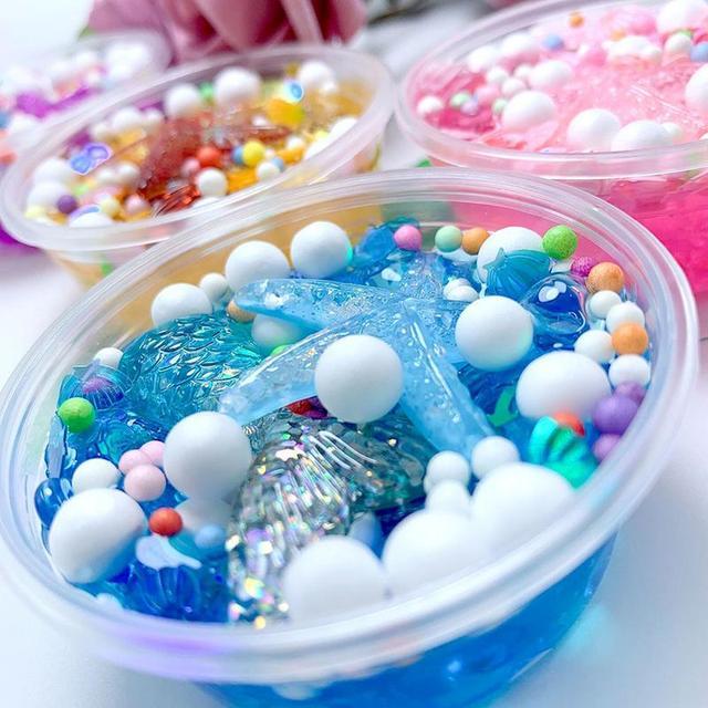 Enfants moelleux cristal boue mousse Slime boîte Speelgoed lumière à assembler soi-même étoile de mer coquille Starfi Plasticine mastic satisfaisant Slime accessoires