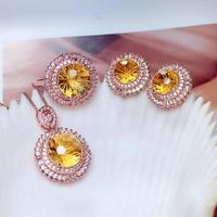 classic clear yellow citrine stud earrings ring bracelet necklace jewelry set 925 silver round natural gem ornament party gift
