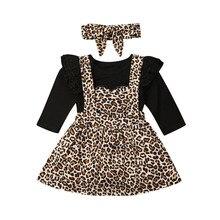 Осенние комплекты одежды для маленьких девочек комбинезон с длинными рукавами и леопардовым принтом для детей 0-24 месяцев+ платье на лямках+ повязка на голову, 3 предмета