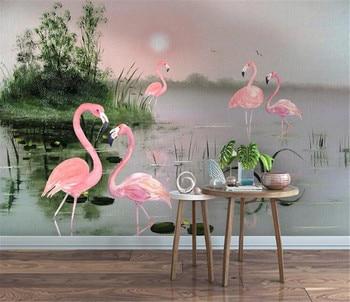 milofi factory custom wallpaper mural modern 3D lotus pond plant flamingo TV background wallpaper mural fancy 3d lotus pond design bathroom stickers