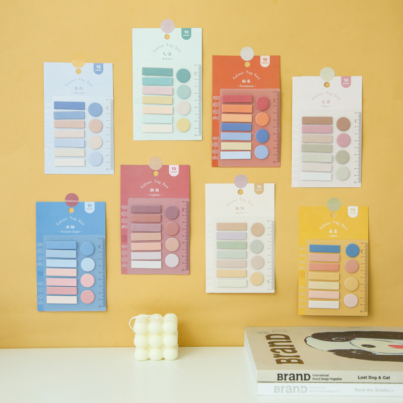 110 Sheets/Pack Index <font><b>Tabs</b></font> Colored <font><b>Sticky</b></font> Note With Ruler <font><b>Cute</b></font> Memo Pad Message Planner Sticker School Office Stationery Supply image