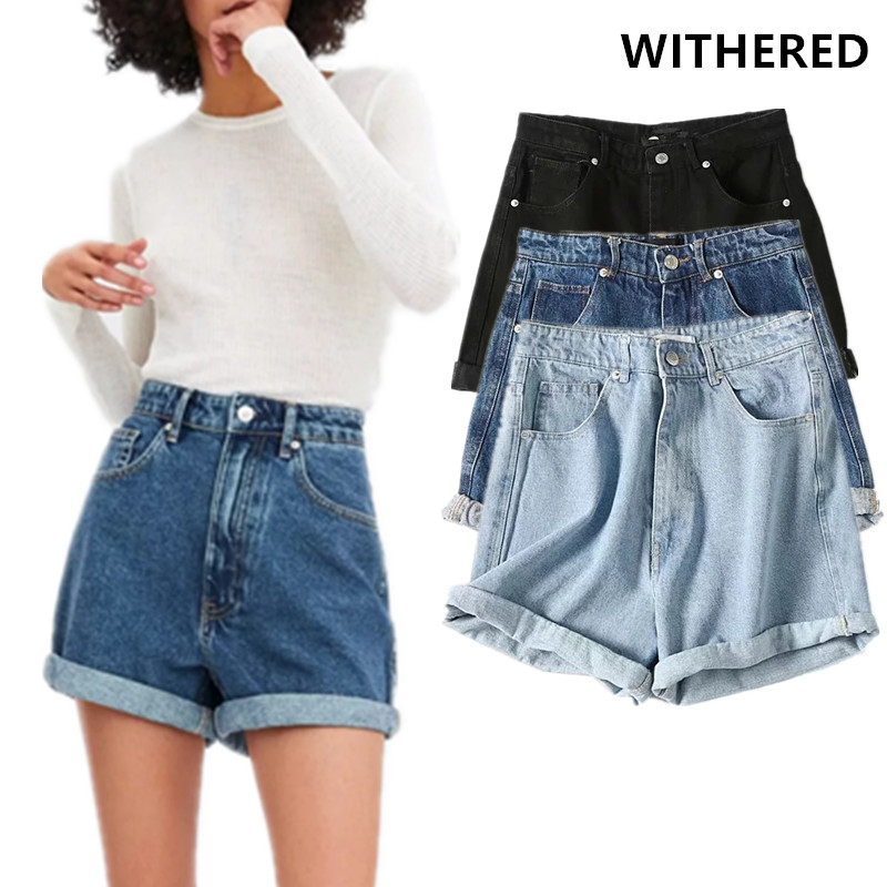 Withered High Street Vintage Washed Roll Up Mom Denim Shorts Women High Waist Mom Harem Short Feminino Plus Size Women Short