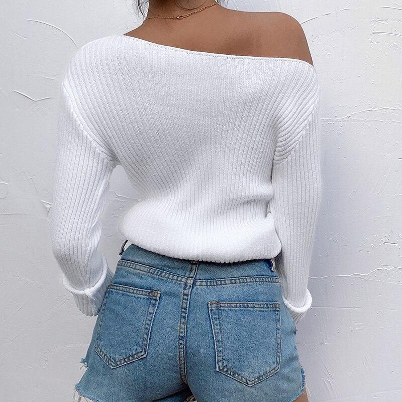 HEYounGIRL вязаный с плеча женщин свитер повседневная с длинным рукавом пуловер дамы элегантный белый Джемпер женский осень свитер