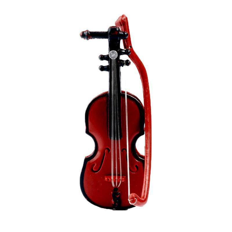 1:12 Miniatures Doll House Mini Violin Dollhouse Decoration Wooden Simulation Music Instrument Accessories