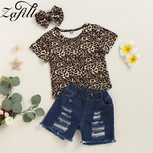 baby girls boutique clothing girls kid back to school outfits girls car camper school clothing with pink ruffle shorts with bows ZAFILLE Summer Girls Clothing 2020 New Leopard Baby Girls Clothes 3Pcs Outfits Short Sleeve Top + Shorts + headband Outfits Sets