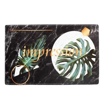 Alfombra de entrada de franela con estampado Tropical Felpudo antideslizante para decoración...