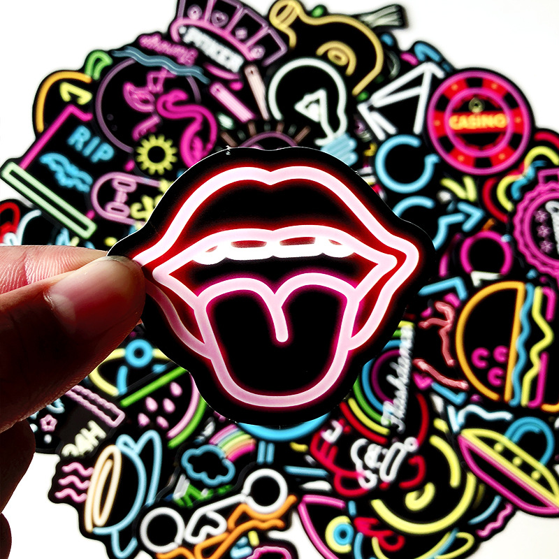 100 Pcs Neon Rock Personality Stickers Sets For Travel Suitacase Fridge Guitar Waterproof Graffiti Decal Teen Toys Laptop Bike