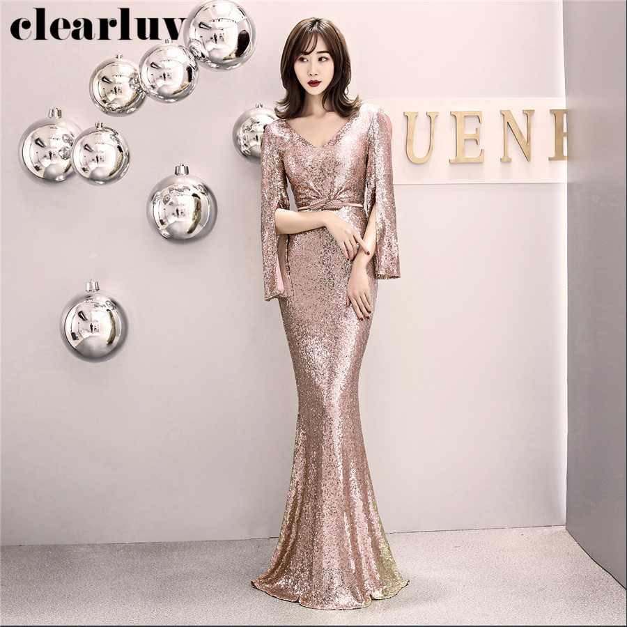 Long Sleeved Prom Dress Gold Sequins Mermaid Evening Dresses DX315-4 Elegant Slim Party Gown 2020 Plus Size Long Robe De Soiree