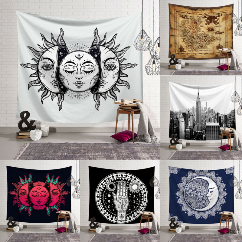 UK Tapestry Wall Hanging Polyester Mandala Pattern Blanket Tapestry Home Decor 95x73CM Brushed Printed Tapestry