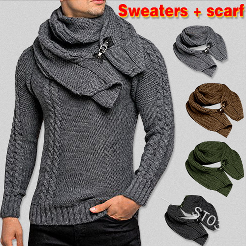SWEATER+Gift Scarf Autumn Winter 2020 Men Long Sleeves Pullovers