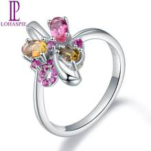 LP Solid 18 Karats AU 750 White Golid Ring Natural Gemstone Colorful Tourmaline Ruby Engagement Rings Fine Elegant Women Jewelry(China)