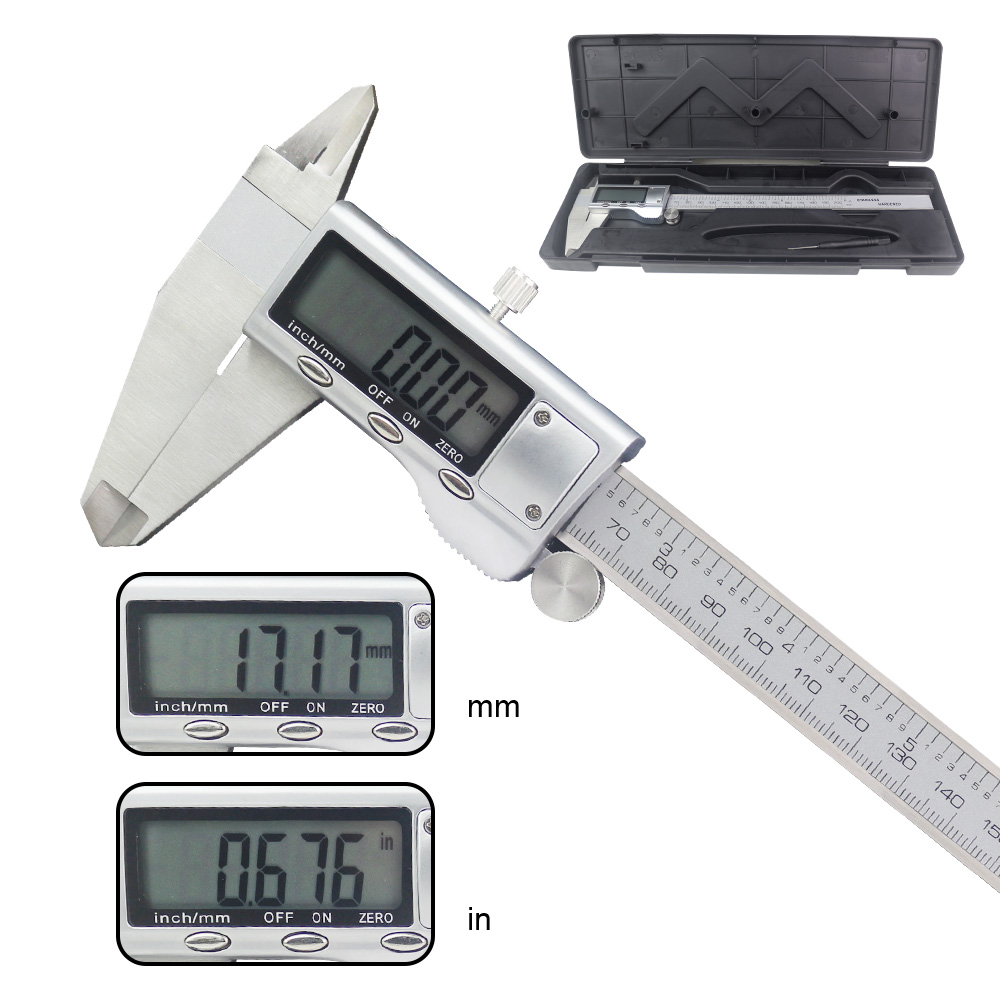 0-200Mm 8Inch Stainless Steel Electronic Vernier Caliper LCD Electronic Digital Gauge Stainless+Box