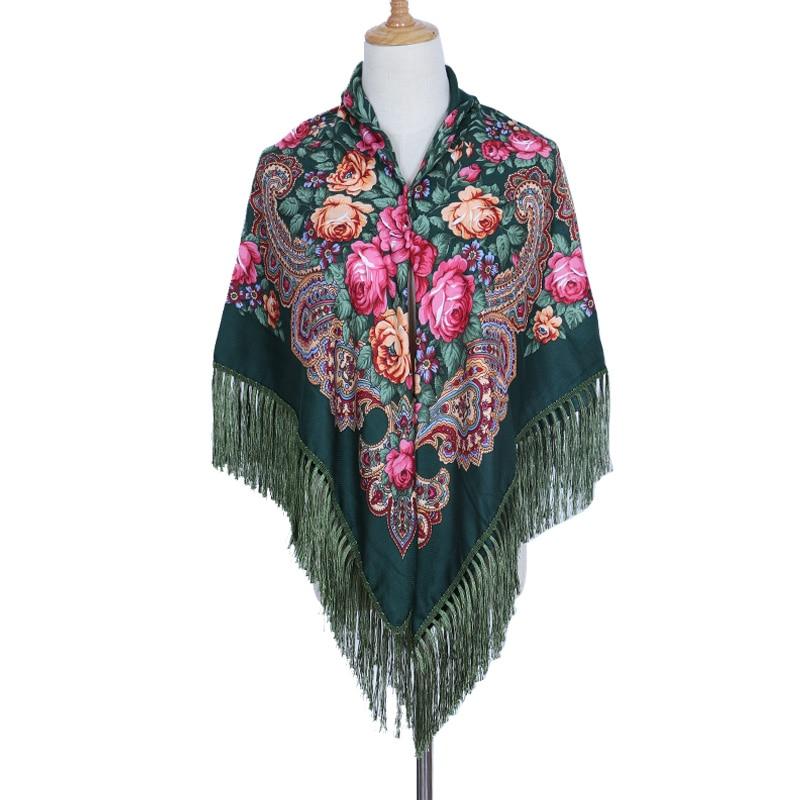 Women Square Scarf Fashion Large Cotton Long Tassel Floral Scarf Spring Shawl