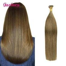 Gazfairy I Tip человеческие волосы Предварительно Связанные кератиновые волосы для наращивания 16 дюймов 1 г/локон 50 г натуральный цвет шелковистые прямые настоящие волосы Remy fusion