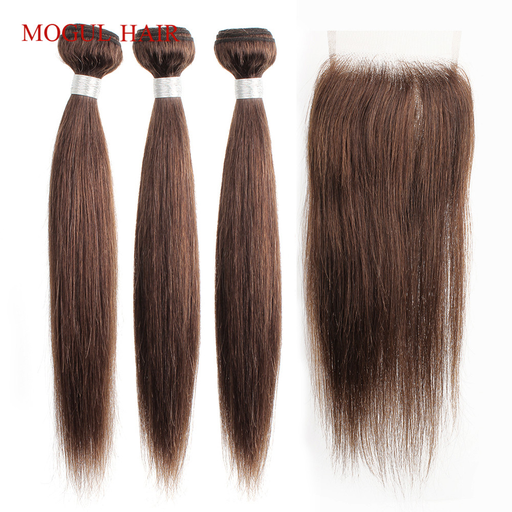 MOGUL HAIR Color 4 Chocolate Brown Straight Hair Bundles With Closure Peruvian Straight Non Remy Human Hair Extension 10-24 Inch