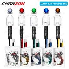 Ampoule à résistance pré-câblée, 10 pièces, 10mm, 5V 6V 9V 12V, blanc vif, rouge, vert, bleu, jaune