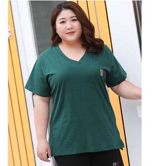 Fat Ladies Summer Green T Shirts Tops For Woman D036 Custom Made Super Large Plus Size 7XL 6XL 5XL 4XL 3XL Female V Neck Tees