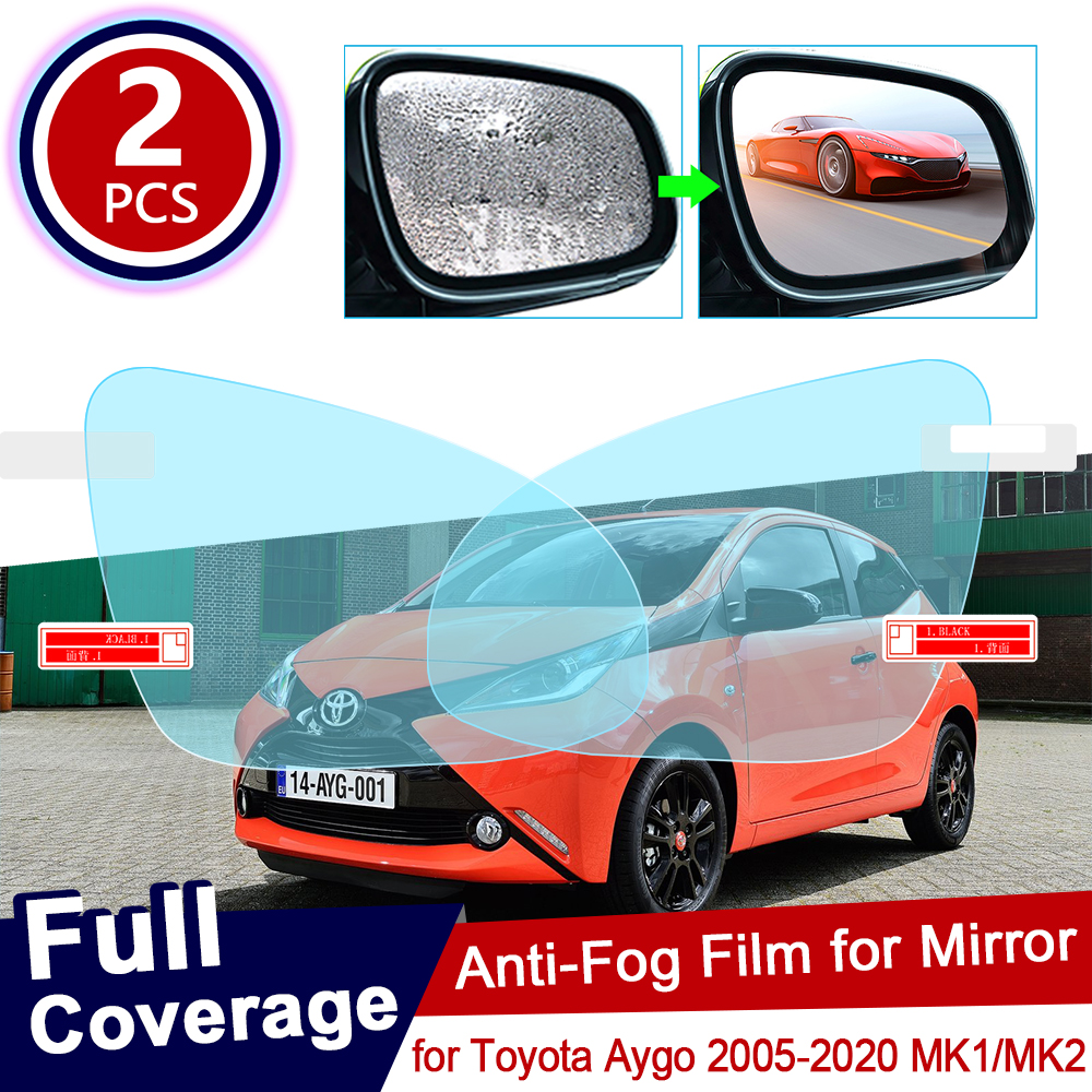 For Toyota Aygo 2005~2020 MK1 MK2 Full Cover Anti Fog Film Rearview Mirror Rainproof Clear Anti-fog Films Car Accessories 2018