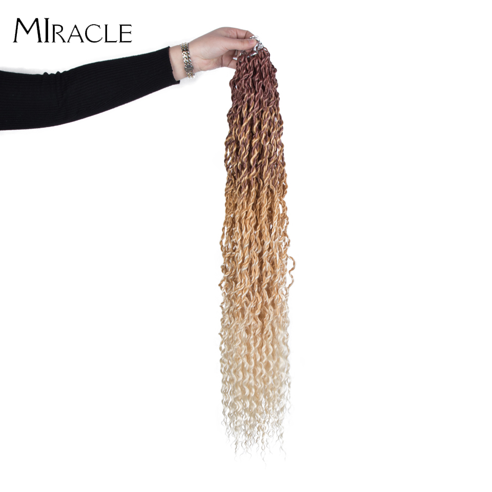 Synthetic Crochet Braid Locs Crochet Passion Twist Braiding Hair Extensions Ombre Blonde Faux Locs With Kinky Curly Hair Miracle