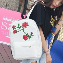 Fashion Backpack Women Girls Boys Embroidery Rose School Bags Travel Canvas Backpack Bag for Teenage Shoulder Bagpack mochila все цены