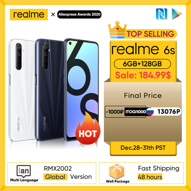 realme 6s NFC Global smartphone 90Hz 6.5'' Display 6GB 128GB mobile phone 48MP 4300mAh 30W changer Telephone Android Phones