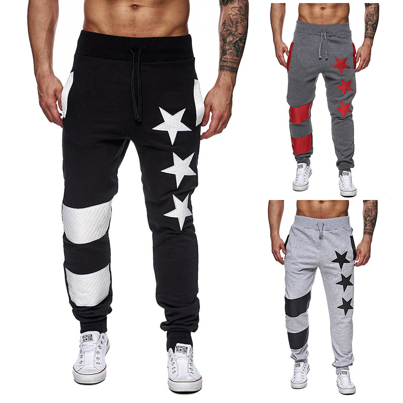 Summer New Style Characteristics Five-pointed Star Printed Joint Stripes Casual Sports Pants K03